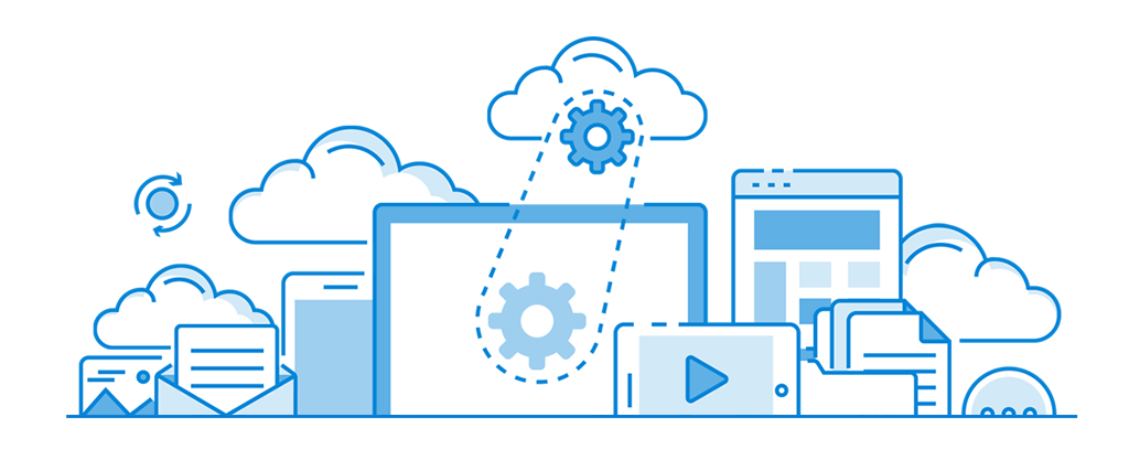 graphic of cloud with gear above computers and other technology