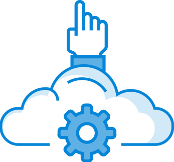 hand pointing out of cloud with gear