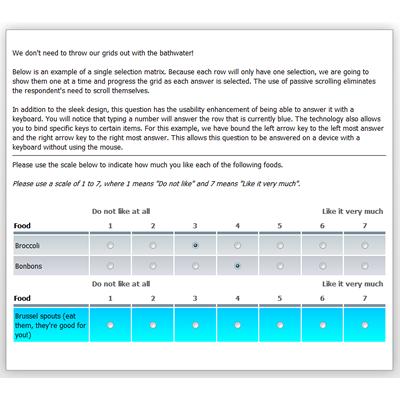 Example of Single Selection Matrix