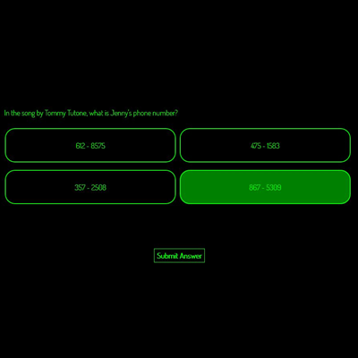 Black and green survey question example
