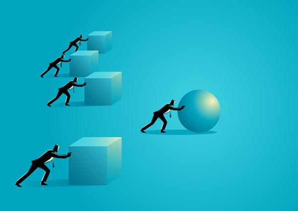 graphic of businessmen pushing cubes and sphere
