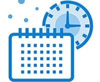 A clock is behind a calendar